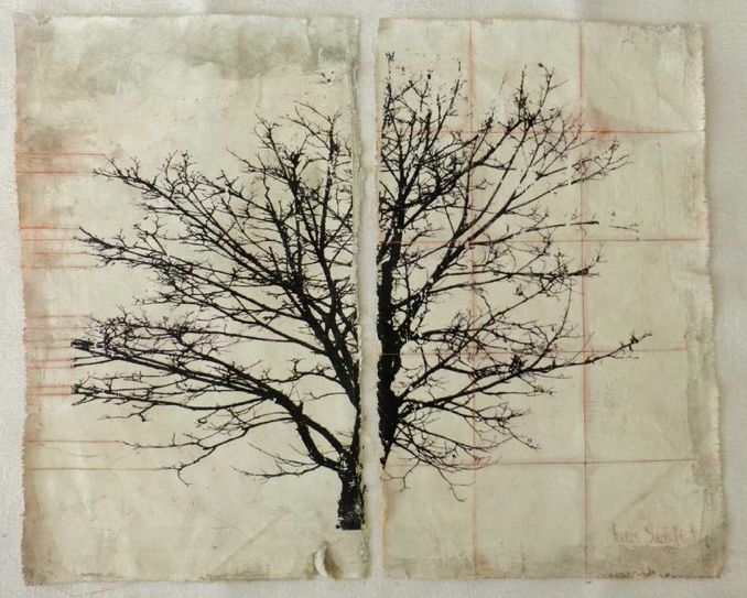 Photgraph or a treetop transferred to reclaimed piece of cloth that has been prepared with gesso, acrilyc wash, water colour and finished with epoxy varnish. By Ines Siedel.
