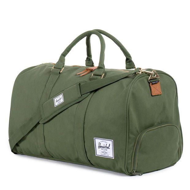 Herschel Supply Co.: Novel Duffle Bag - Dark Army Coated Cotton Canvas / Indigo Denim