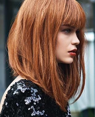 A Medium Brown straight coloured bob defined-fringe multi-tonal womens haircut hairstyle by Jean Claude Aubry