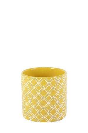 """This ceramic pot has an embossed geometric design. It is filled with wax and will add a modern touch to your decor while creating a beautiful ambience. Burn 18 hours.<div class=""""pdpDescContent""""><BR /><b class=""""pdpDesc"""">Dimensions:</b><BR />L10xH10.5 cm</div>"""