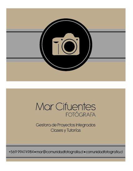 Tarjetas de presentación. Cliente: Comunidad Fotografía. Diseño. Katherine Melgarejo Bahamondes