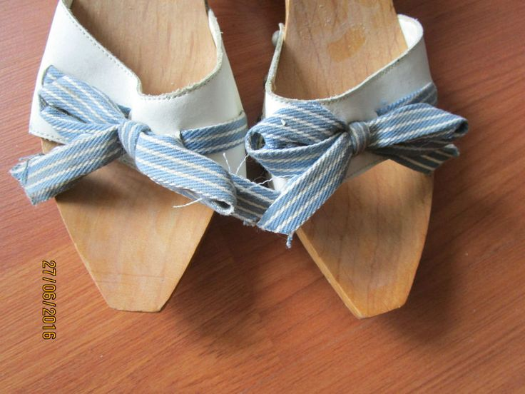 FABRIC RIBBON WOODEN HEELS  APPROX 5 CM SZ 7 SLIPPERS SANDALS SUMMER SHOES