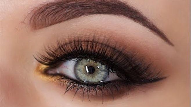Kahverengi Dumanlı Göz Makyajı Yapımı - Özel günler için veya günlük yapabileceğiniz kahverengi dumanlı göz makyajı tekniği (Smokey Brown Pop Of Gold Video)