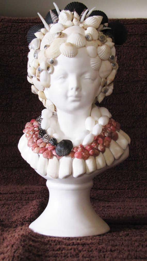 Shell Encrusted Bust in pink and black