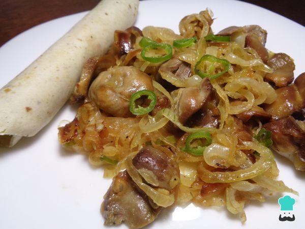 Receta de Mollejas de pollo en salsa picante - Fácil