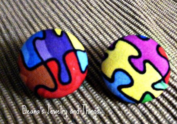 Puzzle Fabric  Button Earrings 1 1/8 by deanasjewelry on Etsy, $7.00