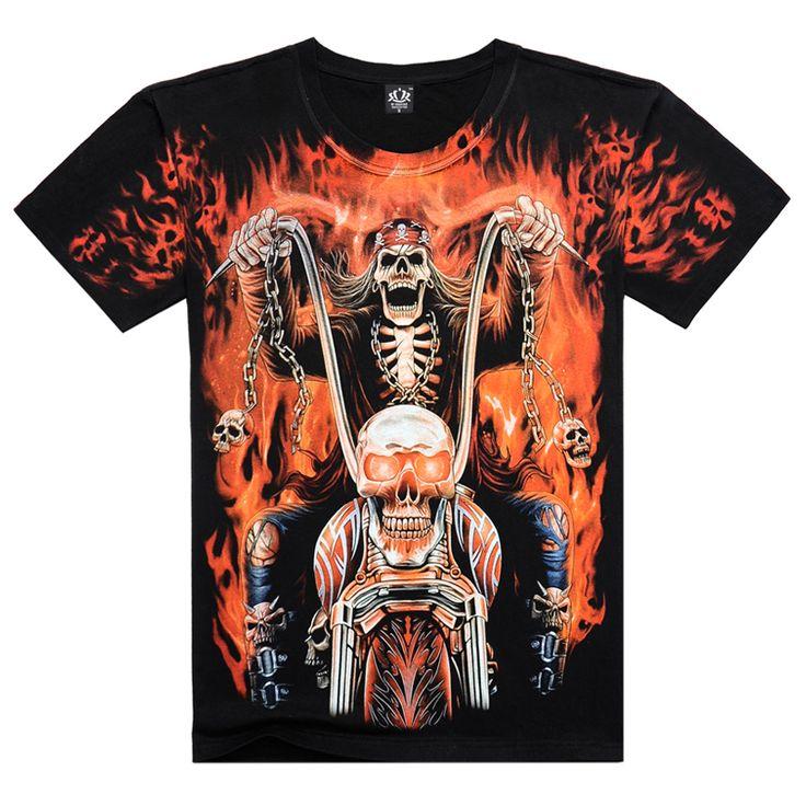 2016新しいメンズ半袖3d tシャツ男コットンoネックtスカルハーレー印刷ゴーストライダーヨーロッパサイズ夏tシャツ、ja141