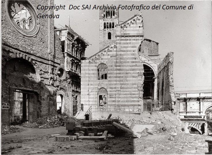 Genova - Chiese di Santo Stefano bombardamenti 2°guerra mondiale