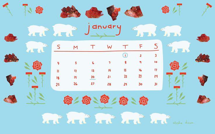 Monthly Calendar Wallpaper by Alysha Dawn.
