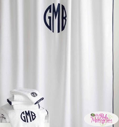 Monogrammed Chiaro Shower Curtain From Matouk Is A Simple Base With A  Sateen Piping Detail That Acts As The Canvas For A Big Bold Monogram On Our  Ch