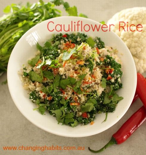 Cauliflower Rice is a super quick, tasty, nutritious, grain-free, alternative to white rice and perfect for those following either Changing Habits Hunter Gatherer or HCG Protocol. You can use this Cauliflower rice to make Fried Rice, added to soups, curries and salads. Your flavours can be as creative as you like, add chopped fresh herbs or kale, spices, onion and garlic, lemon or lime juice, chilli, other grated vegetables such as zucchini or carrot.