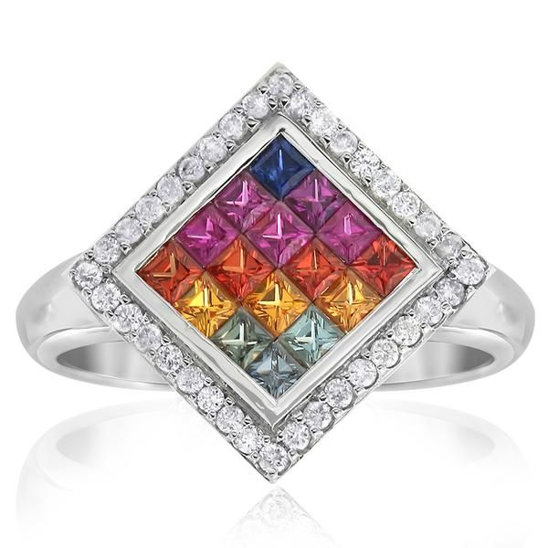 Colour your world with this vibrant Kaleidoscope sapphire and diamond ring. Crafted in 18ct white gold. Gerard McCabe only uses natural…