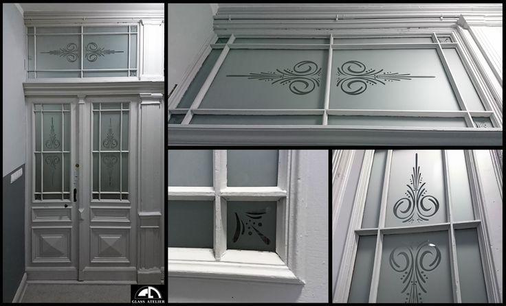 drzwi - szkło piaskowane z wzorem #glassatelier , #piaskowane , #stainedglass , #handmade , #glass , #art , pracownia , #witraże ,