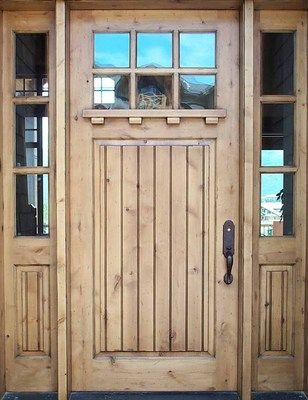 Exterior Knotty Alder Double Entry Doors Craftsman Style Wood Door with Sidelite   eBay