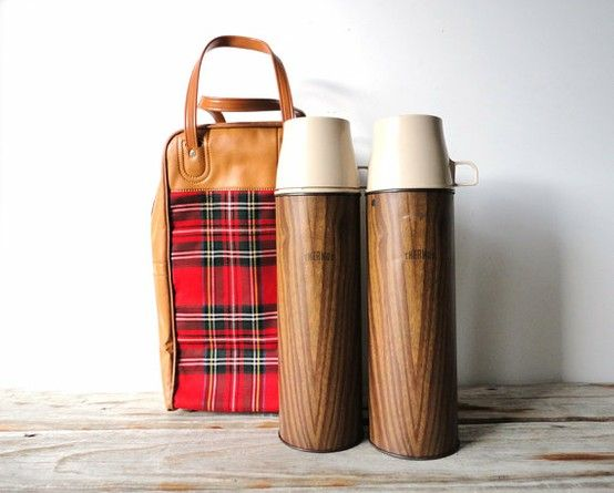 Pair of vintage wood grain Thermos', and tartan carrying bag... perfect for a secret picnic with James & Donna! <3