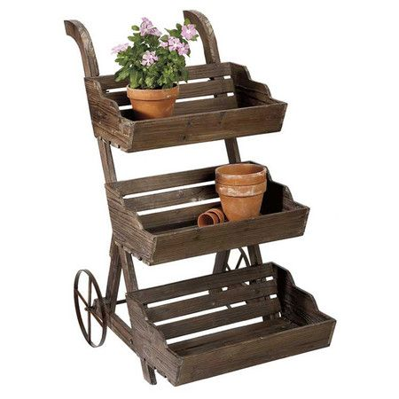 Display your favorite greenery, blooms, and herbs with this charming plant stand. Offering 3 tiers and a cart-style design, this farm-inspired piece brings r...