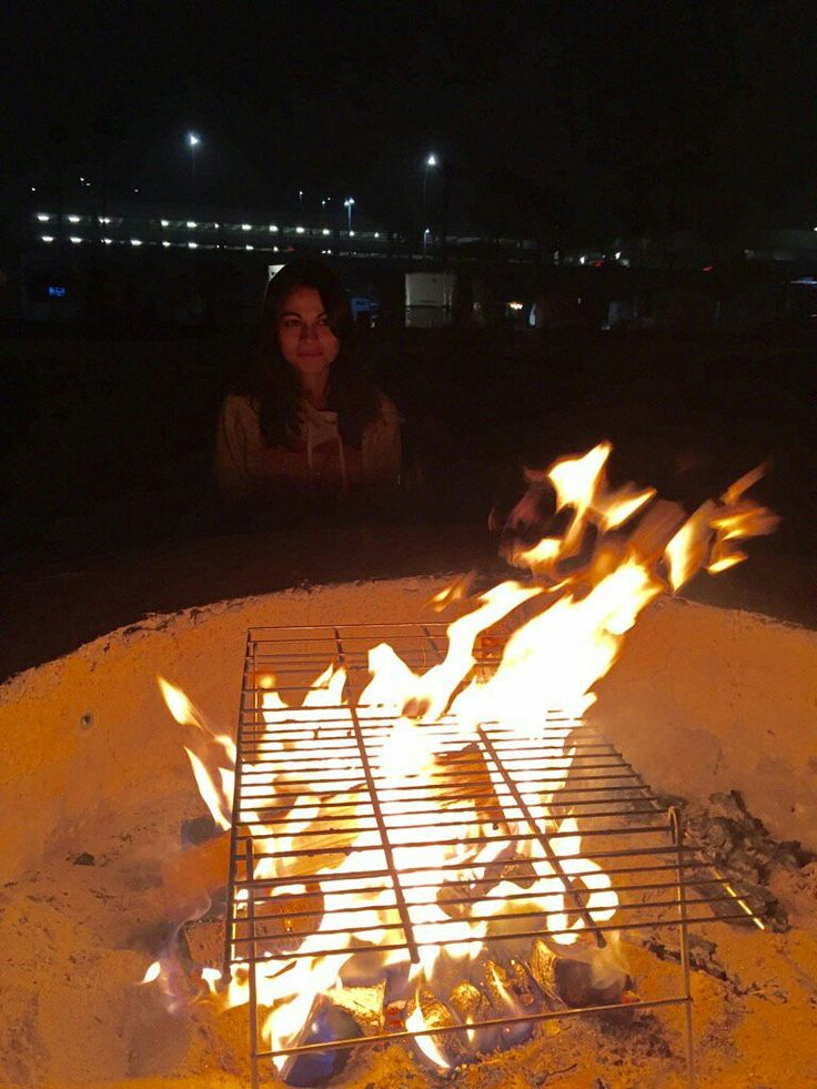 Kathy DiStefano and bonfire