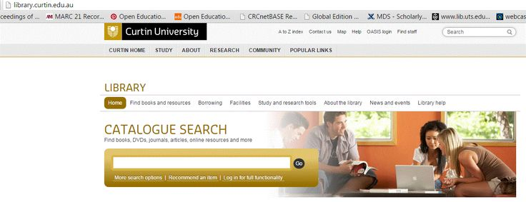 Curtin University Library Homepage Curtin University Home