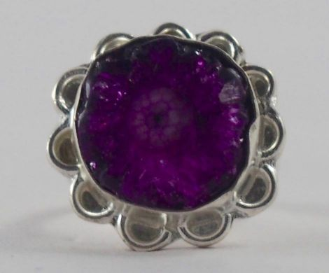 Handmade Silver Plated Ring with Agate Stone
