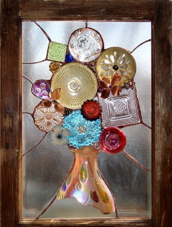 recycled glass bottles make beautiful stain glass style insets inframes for windows in a shabby chic, rustic farmhouse , country , boho , vintage or gypsy decor in home or caravan from old chipped glasses or decorative glass bowls etc