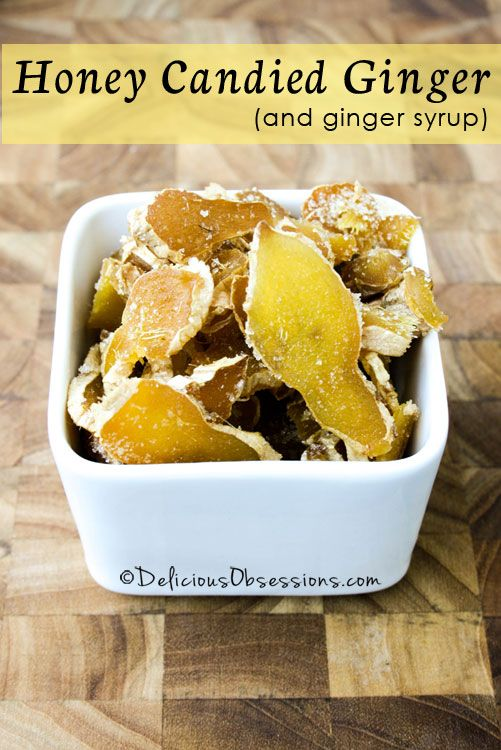 How to Make Honey Candied Ginger and Ginger Syrup // deliciousobsessions.com