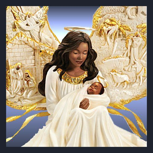 Thomas Kinkade Illuminated African American Nativity Angel Sculpture: Away In A Manger