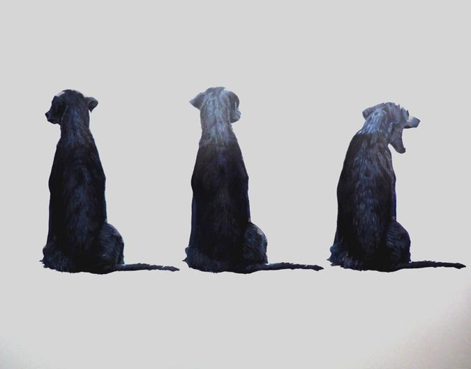 Dog paintings by Iet Langeveld, Eugene Wolfberg and Jari Ronkko. Notes from the Pack.