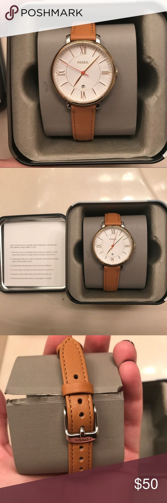Fossil women's leather strap watch - New! It's a super cute Fossil women's watch! It's brand new in box. Genuine leather light brown strap and still has the protective plastic cover on top and back of watch. Fossil Accessories Watches