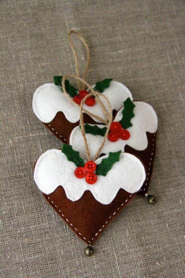 coração natalino de feltro