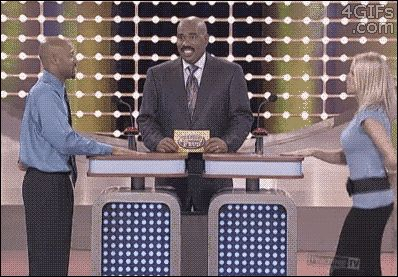 Hilarious Gif of a Family Feud played caught staring at the bouncing goods of the sexy assistant. Focus, son!