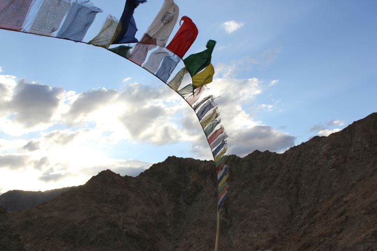 Prayer flags flutter in the winds of Ledakh, India