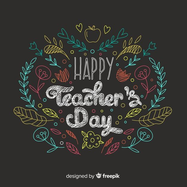 Download Teachers Day Concept With Hand Drawn Background For Free In 2020 Teachers Day Chalkboard Art Teacher Chalkboard Art Quotes