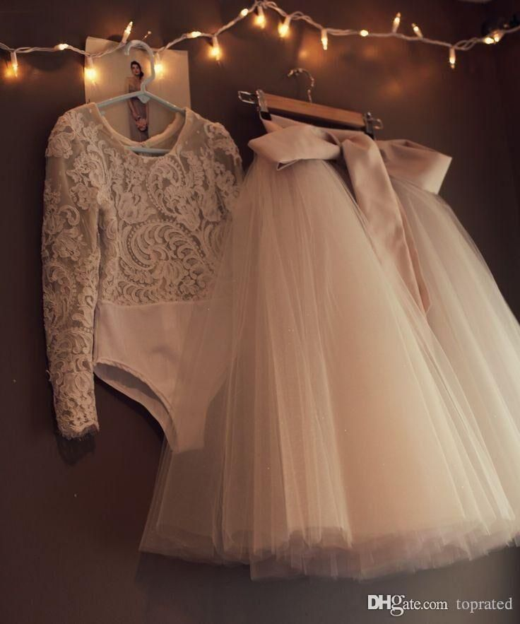 2016 Long Sleeves Lace Flower Girls Dresses Two Pieces Tulle Lovely Little Kids …