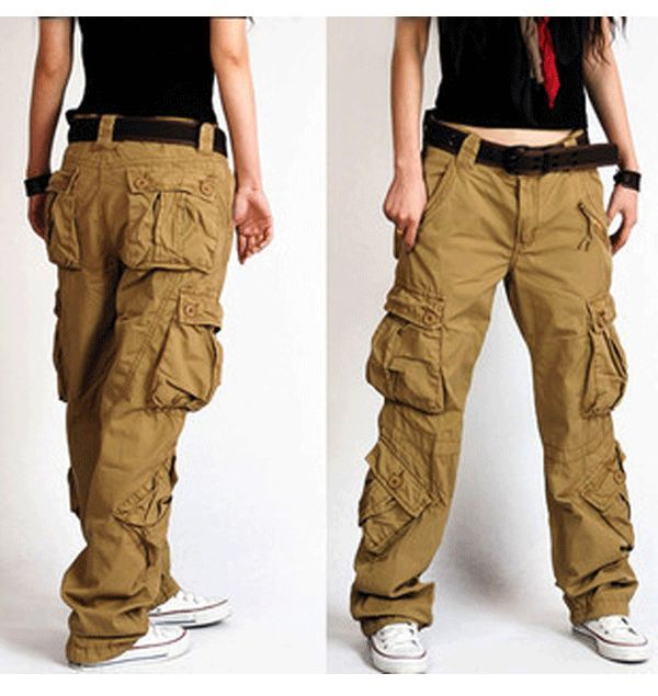 women's army cargo pants Women's bags overalls female straight loose casual pants trousers: