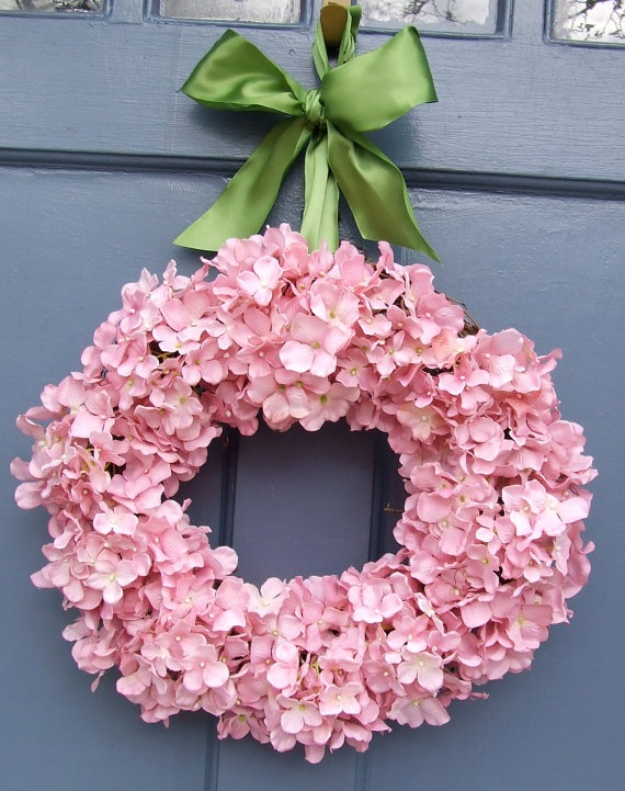 Ohooo Pretty! Makes me think Apple Blossom!  Light Pink Hydrangea Wreath with Sage Green by MonicaMurrayHome,