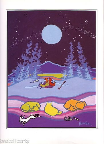 PRINT Art TED HARRISON Yukon CANADA Sled Dogs FULL MOON Night Starry