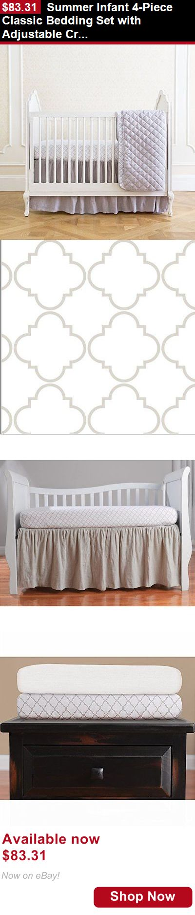 Other Nursery Bedding: Summer Infant 4-Piece Classic Bedding Set With Adjustable Crib Skirt, Medalli... BUY IT NOW ONLY: $83.31