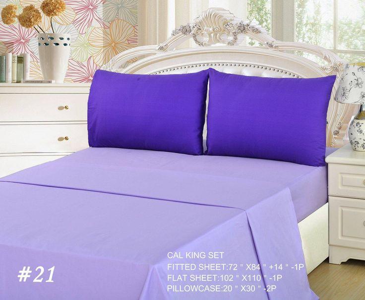 Tache 3 to 4 PC Cotton Solid Lavender Dream Dark Purple/ Light Purple Bed Sheet Set