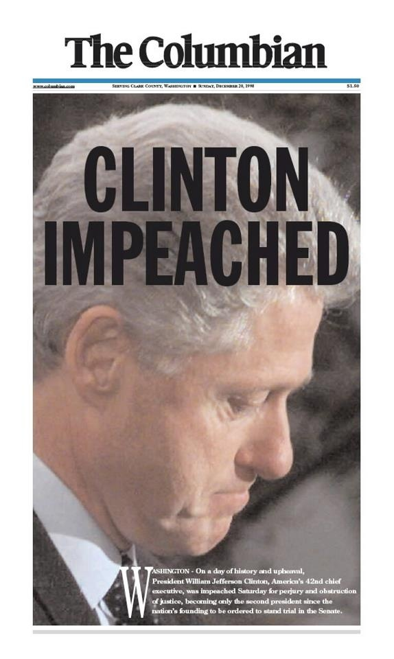Dec. 19, 1998: President Bill Clinton, America's 42nd chief executive, was impeached for perjury and obstruction of justice, becoming only the second president to be ordered to stand trial in the Senate.