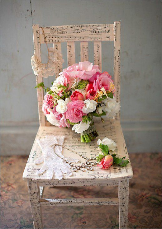 Sheet music paper decoupaged on chair with floral  shabby chic accents