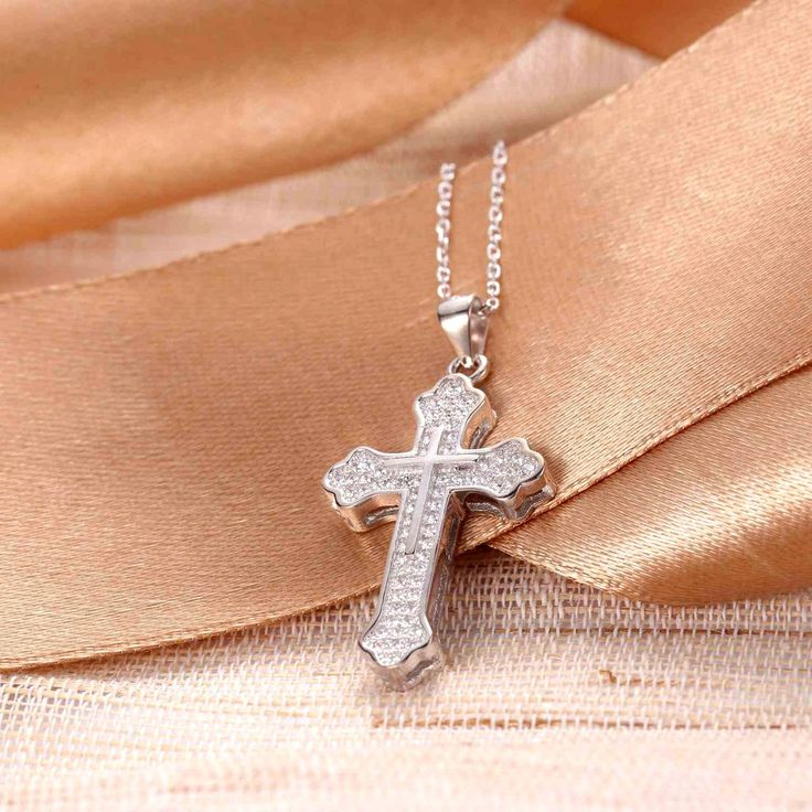 "UneJoux Sterling Silver Cross Pendant Necklace Made With Swarovski Elements Zirconia, 18"" - UneJoux"