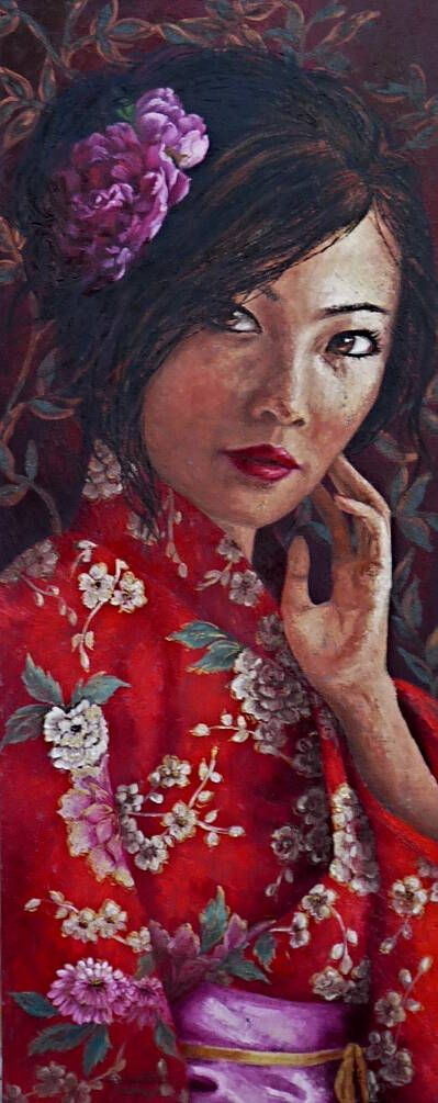 Red kimono, oil on canvas,150x60cm