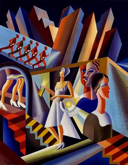 Women, stairs, skyscrapers, 1930 – Fortunato Depero The Futurist Movement