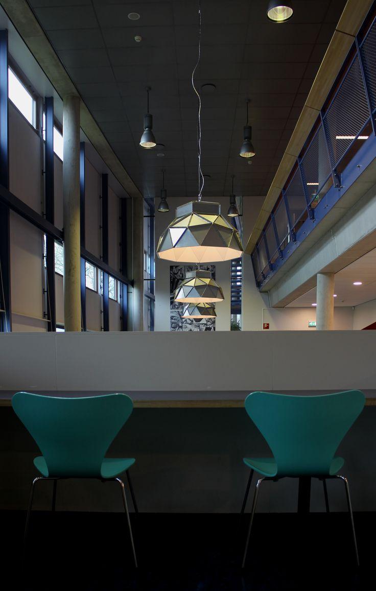 Apollo Lampshades Inox-white by Romy Kühne Design for Dark in a nice project; Hogeschool Leiden
