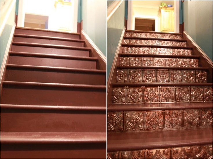 I just did this today. These are the stairs to my basement.  Only took about 4 hours and I love the results. Super easy.  Tin sheets from Lowe's, just cut with scissors and use double sided tape to adhere.
