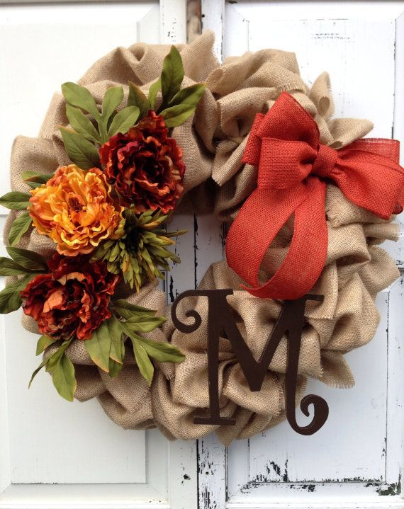 Burlap, Fall decor, Fall burlap wreath, monogram wreath