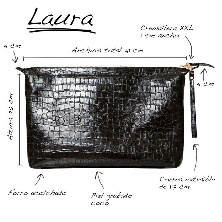 Infografía del bolso Laura estilo cartera de piel grabada efecto coco Mas34 http://www.mas34shop.com/tienda/categoria/complementos/bolsos/