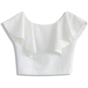 Chicwish Drift in a Frilling White Cropped Top