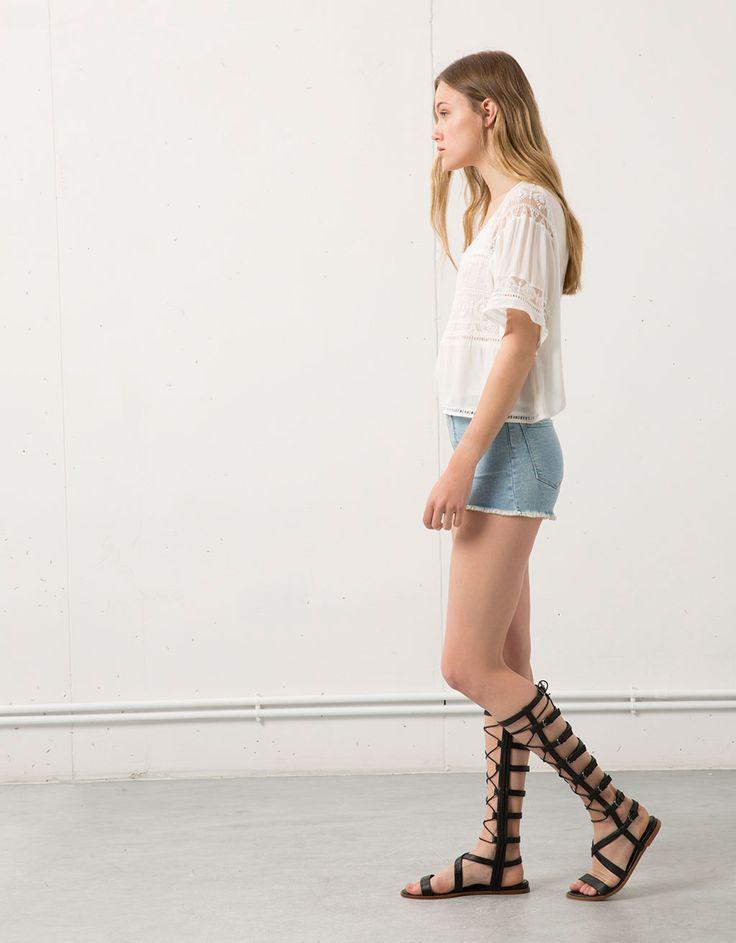 Denim short Bershka met hoge taille - Woman Recommends - Bershka Netherlands