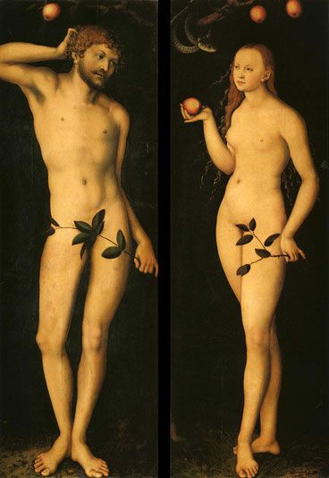 Genesis tells of Adam and Eve who partook of the forbidden fruit in the Garden of Eden. Upon eating the fruit, they were thrust out of God's presence and had to live by the sweat of their own brow in a fallen world. As Renaissance  painters were influenced by Greek mythology, they began portraying the fruit as an apple. As a result, the apple became the symbol for knowledge, immortality, temptation, the fall of man and sin.